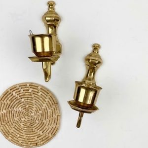 Vintage Bohemian brass candle holders